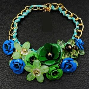 BIG Green and Blue Flower Necklace